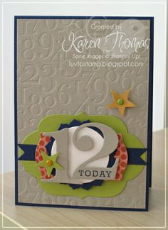 """AWEsome birthday card, could be used for a boy as well!  Created by Karen Thomas of """"Luv To Stamp"""" Blogspot."""