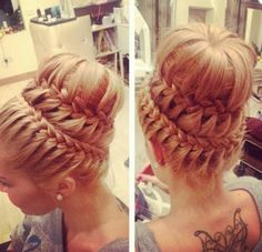 Two waterfall braids, leftover strands used to make second waterfall braid, top is ponytail adding from leftover hair from second waterfall with ponytail. hair secured around ponytail to make it look full.