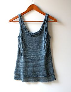 Ready to Ship: Size Small Midnight Blue Sapphire Hand Knitted 100% Silk Layered Tank Top with Cable Bodice and Neckline