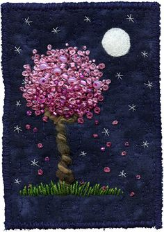 "Moonlight Blossoms 7 | Full moon and blossoms. SOLD 3"" x 4 ½… 
