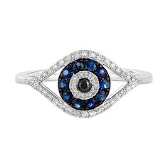 Effy Jewelry Effy Novelty 14K White Gold Blue Sapphire & Diamond Evil... ($1,350) ❤ liked on Polyvore featuring jewelry, rings, 14 karat gold ring, evil eye ring, 14k jewelry, evil eye jewelry and 14k ring