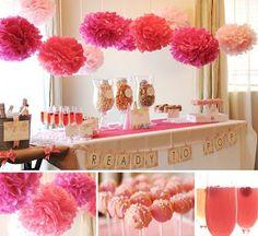 Batchelorette Ideas and Inspiration | The North Shore Bride Flower Ball, Nursery, Baby Shower, Pretty, Flowers, Diy, Balls, Shower Ideas, Baby Sprinkle Shower