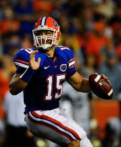 65a12306c Tim Tebow of the Florida Gators attempts a pass during the game against the Charleston  Southern Buccaneers at Ben Hill Griffin Stadium on September 2009 in ...