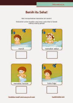 belajar membaca untuk SD kelas 1, belajar kebersihan pribadi untuk anak, mandi dengan sabun