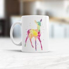 Cute Roe Mug Roe Watercolor Ceramic Coffee Mug, Deer Roe Coffee Mug, Animal Cup Children roe cup, Gift For Girlfriend, Gift for daughter Painting Prints, Art Prints, Watercolor Paintings, Animal Mugs, Cup Design, Watercolor Design, Watercolor Animals, Kitchen Art, Cup Art