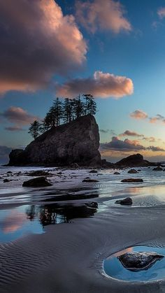 Second Beach twilight at Olympic National Park in northwestern Washington