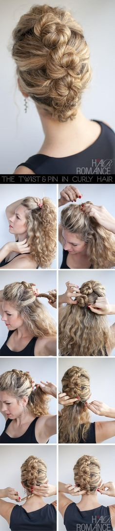 Hair Romance hairstyle tutorial - The French Twist and Pin in curly hair.