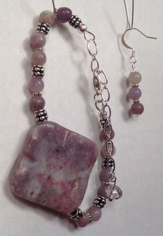 Lilac stone bracelet, earrings