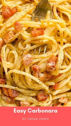 True Spaghetti Carbonara is so easy to make and it will taste lighter and more delicious than in your favourite restaurant! Spaghetti Recipes, Pasta Recipes, Dinner Recipes, Cooking Recipes, Cooking Pasta, Cooking Food, Easy Carbonara Sauce, Carbonara Recipe No Cream, Italian Carbonara Recipe