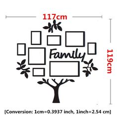 Chic Family Tree Photo Frame Wall Stickers Acrylic Wall Frame Wall Tree Wall Decal Sticker Mural Art Home Decor Collage Picture Frames, Photo Picture Frames, Frames On Wall, Photo Wall, Collage Pictures, Family Tree Photo, Family Tree Frame, Photo Tree, Family Collage