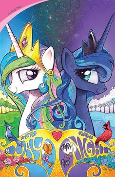 Gorgeous comic book cover with Celestia and Luna