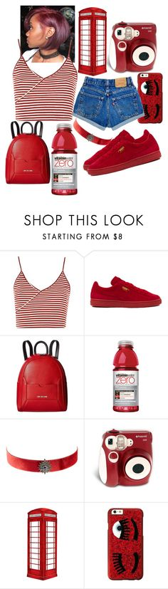 """""""RED•SUMMER"""" by classychica237 ❤ liked on Polyvore featuring Topshop, Puma, Love Moschino, Artisan, Polaroid, jcp and Chiara Ferragni"""
