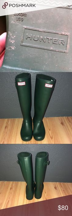Green tall hunter boots Green tall hunter boots in great condition! Price is firm. Hunter Boots Shoes Winter & Rain Boots