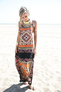 Naima Paisley tribal print Maxi Dress