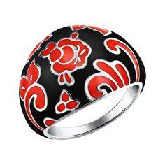 Anillo en plata de ley con esmalte de color negro y rojo