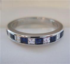 TIFFANY & Co. Platinum 3mm Square Diamond Sapphire Band Ring 6 Sapphire Band, Band Rings, Tiffany, Wedding Rings, Engagement Rings, Diamond, Bracelets, Silver, Jewelry