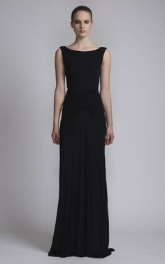Shop Floor Length Dress With Boat Neck. This backless, sleeveless, floor length boat neck evening dress features draping detail in the front and a back zip viscose Made in China . Black Bridesmaid Dresses, Bridesmaids, Different Necklines, Boat Neck Dress, Evening Dresses, Formal Dresses, Floor Length Dresses, Bateau Neckline, Occasion Wear