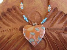 Mokume Gane (technique) polymer clay pendant necklace