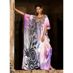 100% Silk kaftan embellished beaded beach Resort wear 145 Silk Kaftan, Two Piece Dress, Resort Wear, Designer Collection, Cover Up, Fancy, Beach, How To Wear, Wedding