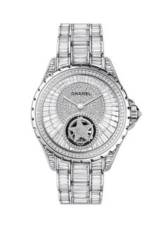 The Chanel J12 Flying Tourbillon is worth a cool €1 million. The precision-regulating tourbillon, which rotates once a minute, is used to set a diamond star spinning on the dial of the watch, surrounded by baguette-cut diamonds on the dial, case and bracelet