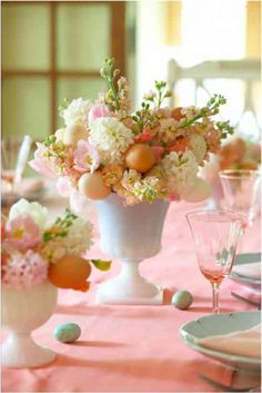 table de Pâques décorée en rose