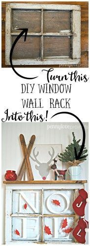Turn an old window into a IDY wall rack and use it in your Christmas decor!