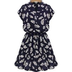 SheIn(sheinside) Navy Stand Collar Batwing Leaves Print Dress