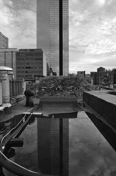 The John Hancock Tower in Boston (in black and white)