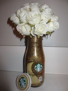 Starbucks Gold Glitter Flower Vase Make up brush Holder by ALHshop, $6.00