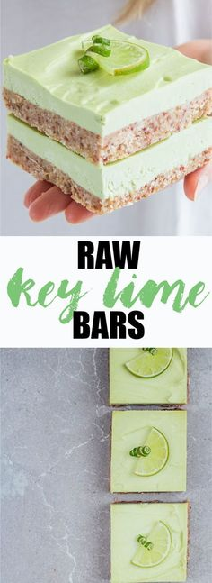 These raw key lime pie bars are a refreshing, healthy, and delightful dessert! Store them in the freezer and enjoy them anytime! (best key lime pie how to make) Healthy Vegan Dessert, Coconut Dessert, Cake Vegan, Raw Vegan Desserts, Raw Cake, Low Carb Dessert, Brownie Desserts, Raw Vegan Recipes, Köstliche Desserts