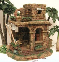 Introduced in 1996 - Nativity Village. This is One of Fontanini's Nativity Accessories from Roman Inc Made to Enhance and Add to the Realism of Any Nativity Display. Fontanini Nativity, Diy Nativity, Christmas Nativity Scene, Christmas Villages, Modelos 3d, Clay Miniatures, Miniature Houses, Fairy Houses, Creations