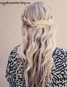half up- half down wavy and braided