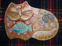 "Gallery.ru / Inna-Mina - Альбом ""Кошачьи"" Pottery Handbuilding, Homemade Clay, Clay Cats, Cat Character, Inna, Cat Art, Dog Cat, Street Art, Ceramics"