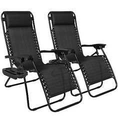 Zero Gravity Chairs 2 Pc Black Lounge Patio Folding Recliner Outdoor Yard Beach