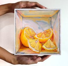 Lemon in a box II  Oil on Canvas  8 x 8 inches  So back to the story.. right now I have 2 visual styles of art :  1. Illusion box painting in oil  2. Chinese brush illustrative portraits/figures  In my previous post I spoke of possibly merging them together. The simplest method is to introduce a similar visual approach for both of them that is distinct and easily recognisable. This study is the approach I chose. Its nothing revolutionary as it is my staple style when I use acrylics in my…
