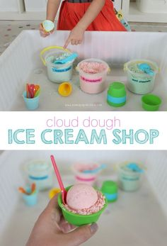 Cloud Dough Ice Cream Shop The fact that it's fall doesn't rule out ice cream shop pretend play, does it? Because today when Miss G realized that it had been a looong time since we last played with cloud dough {the last time probably would have been when Ice Cream Dough, Ice Cream Playdough, Play Ice Cream, Ice Cream Theme, Ice Cream Parlor, Dramatic Play Area, Dramatic Play Centers, Prop Box, Role Play Areas