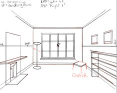 How to Draw the Inside of a Room with 3 Point Perspective Techniques - Step by Step Drawing Tutorial - How to Draw Step by Step Drawing Tutorials One Point Perspective Room, 2 Point Perspective Drawing, Perspective Art, Drawing Room Design, Drawing Interior, Best Interior Paint, Room Interior, Building Drawing, How To Draw Steps