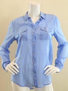 VICTORIA'S SECRET Silk/Cotton Boyfriend Long Sleeve Shirt Blue S $14.99