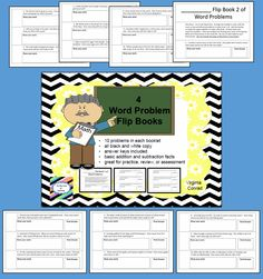 4 flip books that feature 10 addition or subtraction fact word problems