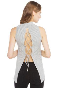 Mock Neck Top | Lace Up Back Shirt | Summer Tops -AKIRA