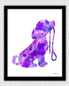 Dog print dog art print dog watercolor dog by FluidDiamondArt