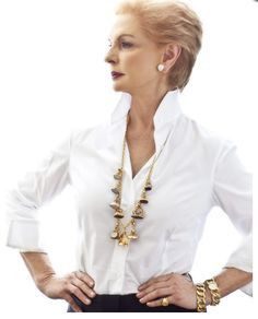I wanna be like her when I grow up!! Stitch fix: nice white shirt! LOVE classic white shirts Carolina Herrera - White Shirt - Classic - Done! PattyonSite