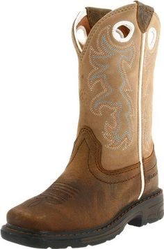 """Ariat Workhog Square Toe Western Boot (Toddler/Little Kid/Big Kid) Ariat. $89.95. leather. Thermoplastic rubber outsole. 9"""" height. Rubber sole. Six-row stitch pattern design. Exclusive Ariat booster bed"""