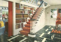 1940s Home Style: Incredible Book-Filled Foyer
