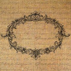 Ornate FRAME Oval Empty Digital Collage Sheet Download Burlap Fabric Transfer Blank Inside to Iron On Pillows Totes Tea Towels No. 4251