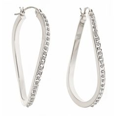 Platinum Over Sterling Silver Diamond Accent Oval Twist Hoop Earring  Diamond Fascination™ Platinum Over Sterling Silver Diamond Accent Hoop Earring       Please report any items that arrive damaged within 72 hours.          UNWORN can be returned within 30 days #Jewelry #madeinamerica #keepamerica