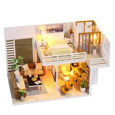 DIY Loft Apartments Dollhouse Wooden LED Kit Kids Christmas Birthday Gifts A | Dolls & Bears, Dollhouse Miniatures, Doll Houses | eBay! Bunk Beds, Toddler Bed, Loft Beds, Double Bunk Beds, Bunk Bed, Infant Bed