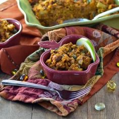 Creamy pumpkin folded into sweet and savory cornbread stuffing with figs, chorizo, apples and almonds.