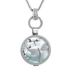 Damen Perlen Anhänger Halskette 925 sterling Silber pl Schmuck Kette Champagner