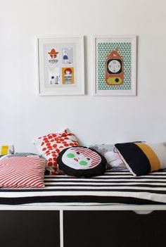 Bold bedding like these stripes adds a cool vibe in any dorm. I got a similar down cover from Ikea.